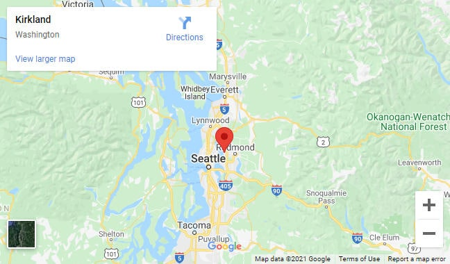 Map of Kirkland WA