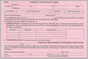 SR22 Insurance Certificate